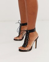 London Rebel clear strap lace up heeled sandals in black