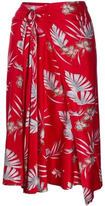Paco Rabanne Red Floral Draped Midi Skirt