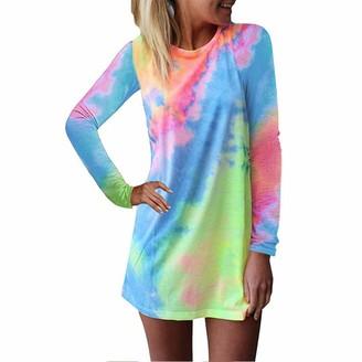 ZWQJYH Women's Tie-Dye Print T Shirt Short Dresses Summer Casual Long Sleeve Swing Dress Casual Mini Sundress Plus Size Blue