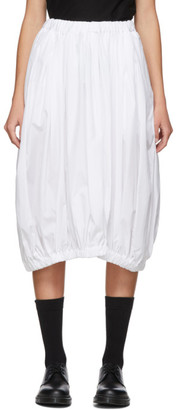 Comme des Garçons Comme des Garçons White Cotton Broadcloth Gathered Skirt