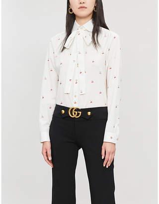 Gucci Pussy-bow cherry-print cotton shirt