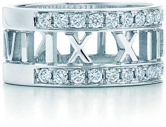 Tiffany & Co. Atlas open wide ring in 18k white gold with diamonds