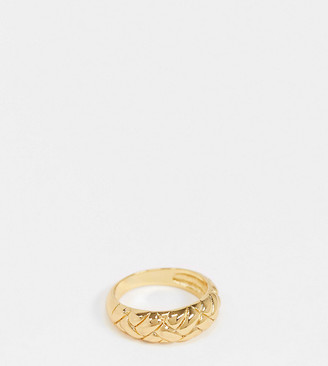 Orelia quilted effect dome ring in gold plate
