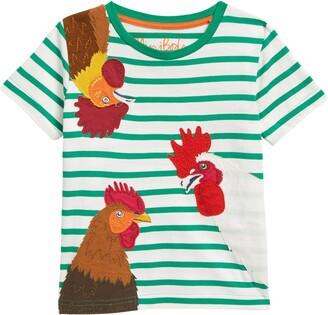 Boden Kids' Stripe Pets Applique T-Shirt