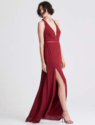 Halston Gown With Contrast Satin Sash