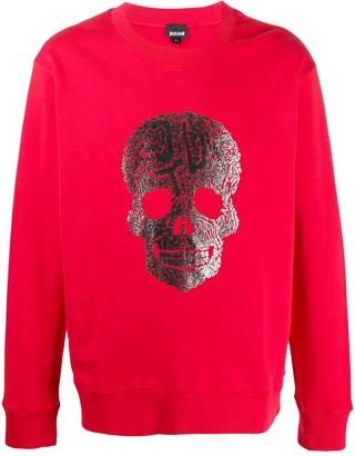 Just Cavalli Skull Print Crew Neck Sweatshirt