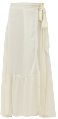 Chufy - Palm Crepe Wrap Maxi Skirt - Womens - White