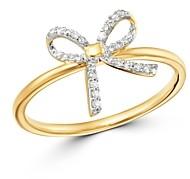 Adina 14K Yellow Gold Pave Diamond Tiny Bow Ring