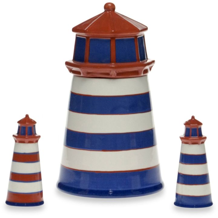 Bed Bath & Beyond Certified International Blue Crab and Lobster 3D Lighthouse Cookie Jar and Shaker Set