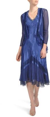 Komarov Embellished Lace Trim Dress with Jacket