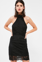 Missguided Petite Exclusive Black High Neck Lace Dress