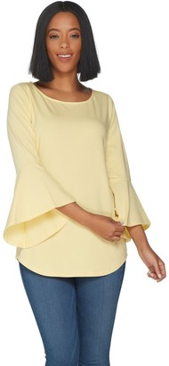 Belle By Kim Gravel Essentials TripleLuxe Knit Bell Sleeve Top