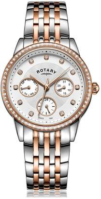 Rotary White with Rose Gold and Crystal Set Detail Dial Two Tone Stainless Steel Bracelet Ladies Watch and Rose Gold Plated Jewellery Gift Set
