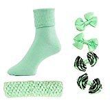 Head to Toe Girls Hair Bows, Headband, Socks (Light Green, 9-11)