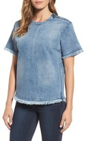 Kenneth Cole New York Women's Zip Detail Denim Tee