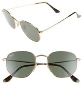 Ray-Ban Women's 51Mm Oval Aviator Sunglasses - Metal Gold/ Green