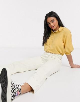Monki Stellie puff short sleeve blouse in mustard