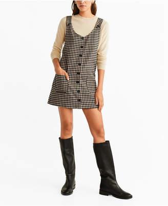 MANGO Button Checkered Pichi Dress