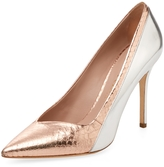 Aperlaï Women's High Heel Metallic Leather Pump