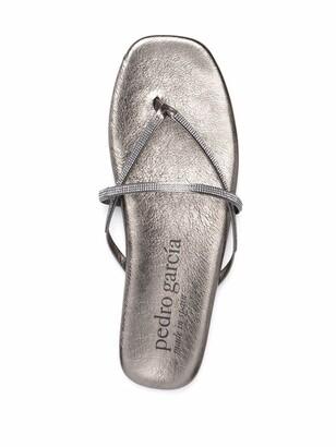 Pedro Garcia Crystal-Embellished Slip-On Sandals