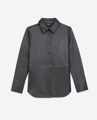 The Kooples Black leather shirt with studs