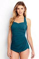 Lands' End Women's Petite Slender Tunic One Piece Swimsuit-Teal Blue