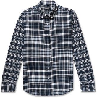 Club Monaco Slim-Fit Button-Down Collar Checked Cotton-Flannel Shirt