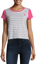 U.S. Polo Assn. Short Sleeve Round Neck Stripe T-Shirt-Womens Juniors