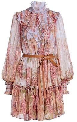 Zimmermann Wild Botanica Silk Smocked Yoke Mini Dress