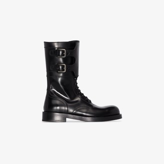 Dolce & Gabbana Black Leather Combat Boots