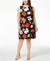 Kasper Plus Size Tropical-Print Crepe Sheath Dress