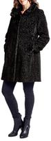 Four Seasons Astrakan Faux Fur Collar Coat, Black