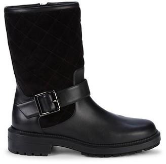 Aquatalia Lila Weatherproof Leather Suede Mid-Calf Boots