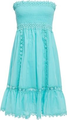 Charo Ruiz Ibiza Strapless Shirred Cotton-blend Mousseline Mini Dress