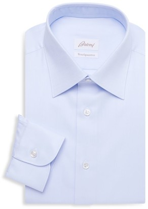 Brioni Chevron Cotton Dress Shirt