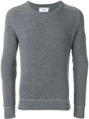 AMI Paris Crew Neck Elbow Patches Fisherman's Rib Sweater