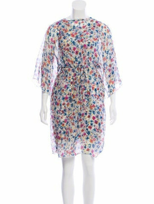 Dolce & Gabbana Silk Floral Print Dress White