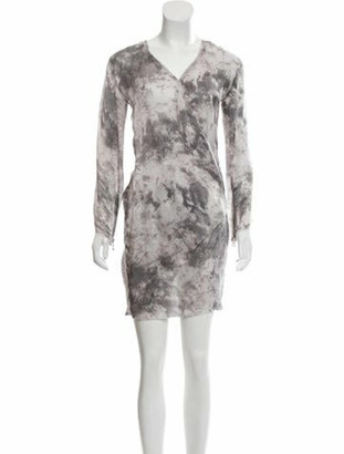 Balmain Silk Printed Dress Grey