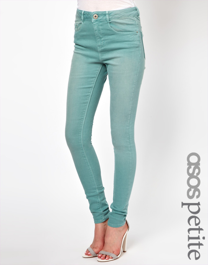 Asos Ridley Supersoft High Waisted Ultra Skinny Jeans in Angel Green