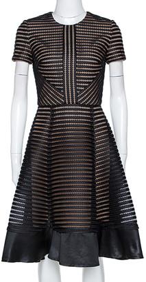 Elie Saab Black Honeycomb Mesh Striped Mini Dress XS