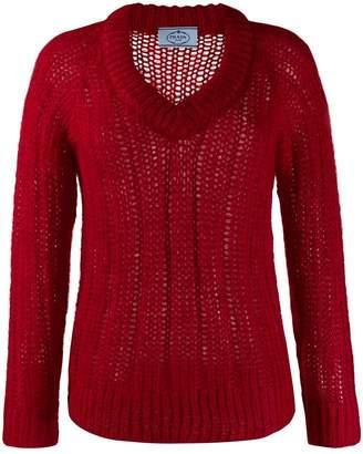 Prada chunky knit v-neck jumper