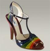 Rainbow T-Strap Peep Toe Sandal