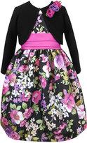 Jayne Copeland 2-Piece Rosette Shrug and Floral-Print Shantung Dress, Toddler & Little Girls (2T-6X)