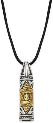 Chisel Stainless Steel Polished Antiqued Star of David Cylinder Necklace