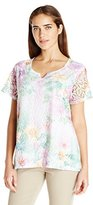 Alfred Dunner Women's Floral Lace Knit Top