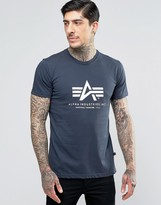 Alpha Industries T-shirt With Logo In Regular Fit Navy