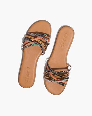 Madewell The Tracie Crisscross Slide Sandal in Snake Embossed Leather