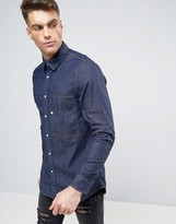 G Star G-Star Stalt Denim Slim Fit Shirt Long Sleeve