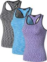 jeansian Women's 3 Packs Quick Dry Compression Tank Tops Vests SMF001 PackA M