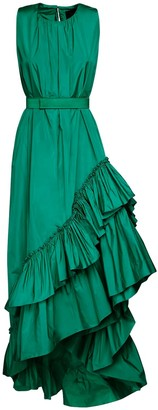 Max Mara Asymmetric Ruffled Taffeta Dress